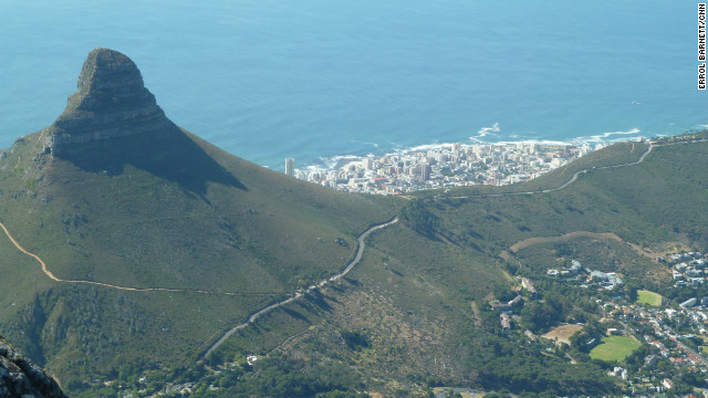Lions Head, part of the Table Mountain range, overlooking the South Atlantic Ocean.