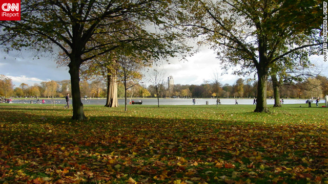 "Alexander L. Popof captured this photo of a beautiful autumn day in Hyde Park. ""I just needed a break from work in L.A., so I flew to London for five days,"" he said."