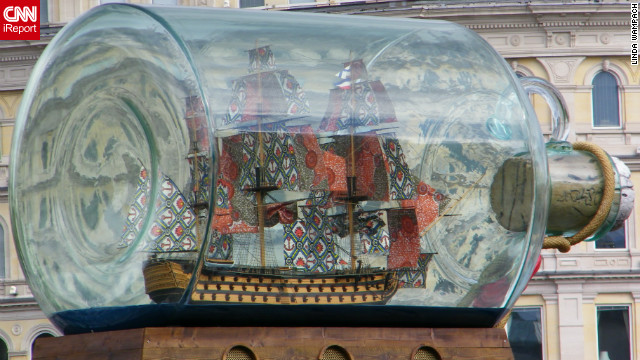 Linda Wampach took this photo of a ship in a bottle on the empty plinth in Trafalgar Square. &quot;We had never been out of the country before so it was all very different and exciting,&quot; she said.