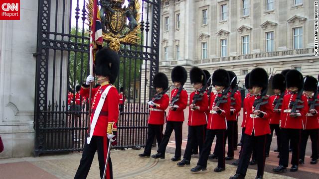 "Marsha Narowitz snapped this shot of the changing of the Guard at Buckingham Palace. ""I was standing behind a railing and had a perfect view of the guards. It was wonderful!"""