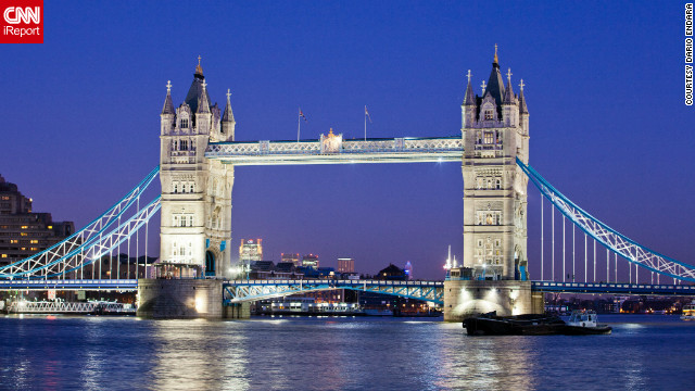 """I recommend taking a stroll along the River Thames at dusk when the lights of the city start coming on,"" Dario Endara said. He captured this view of the Tower Bridge in the evening."