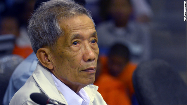 Former Khmer Rouge prison chief Kaing Guek Eav, better known as Duch, sits in the courtroom in Phnom Penh Friday.
