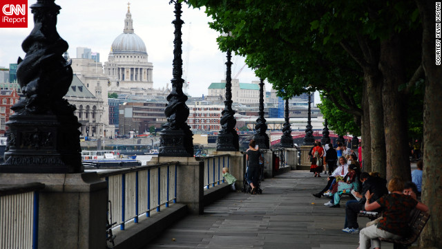 "Kevin Kasmai shared this photo of the Queen's Walk, ""which is on the south side of the River Thames and leads from Parliament and the London Eye to Tower Bridge, passing St. Paul's Cathedral and Tate Modern museum."""