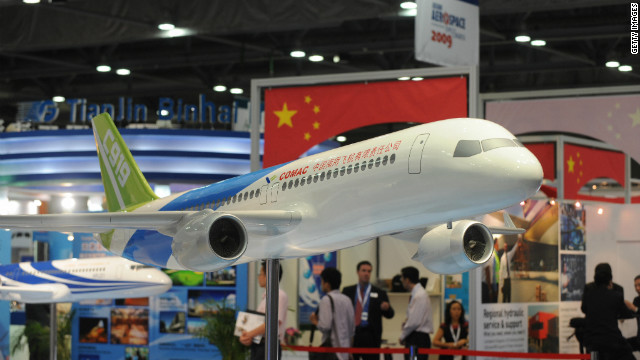 China has shown great ambition in the last few years consistently rolling out new aircraft including the COMAC C919 (model pictured).