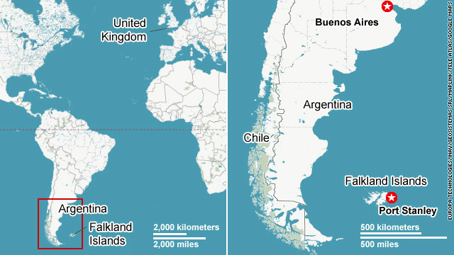 Locator map of the Falkland Islands.