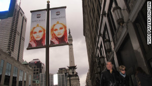 Images of Madonna abound in Indianapolis promoting the singer\'s performance as halftime headliner.
