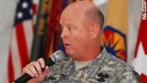 U.S. Brig. Gen. Terence Hildner speaks at an event in Fort Hood, Texas in April.