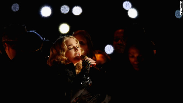 Madonna performs during the halftime show of Super Bowl XLVI at Lucas Oil Stadium in Indianapolis on Sunday, February 5.
