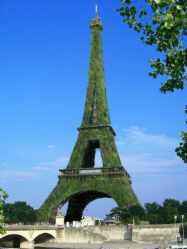 The Eiffel Tower in Paris has reduced its energy consumption with a low energy LED lighting system. This artists impression however envisions further carbon reductions by growing 600,000 plants on the world famous structure. The company behind the project claims that 87 tons of CO2 could be removed from the Paris sky each year.