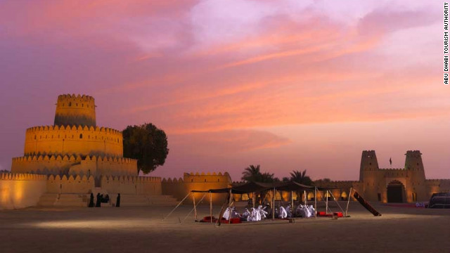 Al Jahili Fort at sunset, once the summer retreat of Sheikh Zayed the First. 