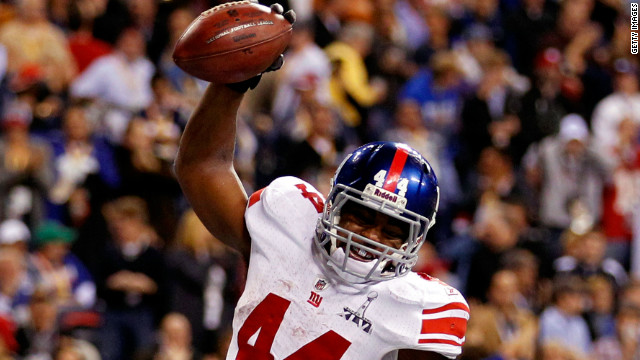 Ahmad Bradshaw celebrates his six-yard run for the final score of Super Bowl XLVI.