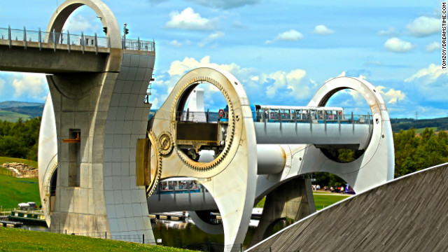 The Falkirk Wheel in Falkirk, Scotland. 