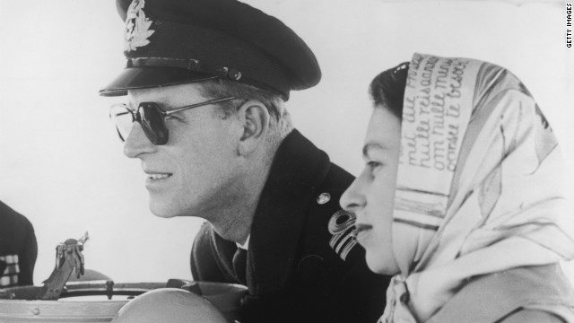 Queen Elizabeth II and Prince Philip are pictured on board the destroyer Crusader on February 6, 1952, the day her father died.