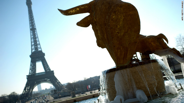 Ice accumulates in the Trocadero fountain in Paris, as France faces low temperatures.