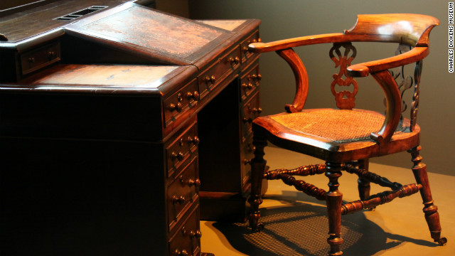 An exhibition at the Museum of London features the desk that Dickens wrote at.