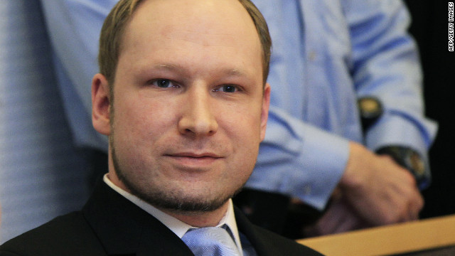 Anders Behring Breivik appears in court Monday in Olso, Norway. He will be kept in custody until his trial in April.