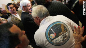 GOP presidential hopeful Newt Gingrich stumps along Florida\'s Space Coast last month.