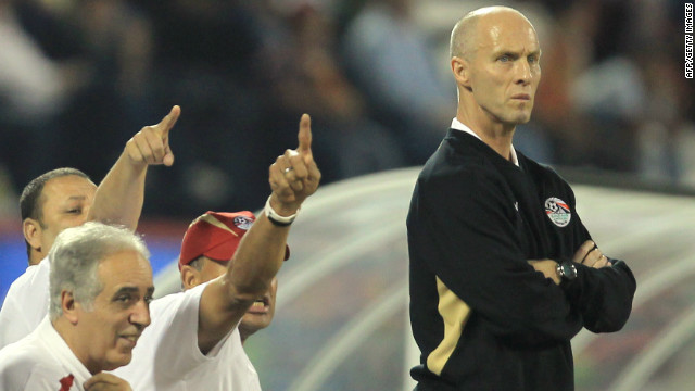 Egypt head coach Bob Bradley watches his team play against Brazil in November.