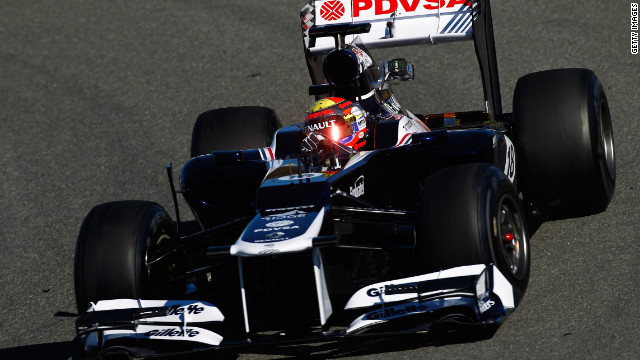 Williams' Venezuelan driver Pastor Maldonado had the first chance to test the car at Jerez. Maldonado will be paired with Bruno Senna in 2012, the nephew of three-time drivers' champion Ayrton -- who died while driving for Williams at Imola in 1994.