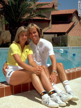 After her split with Connors in 1974, 18-time grand slam winner Evert married British tennis pro John Lloyd in 1979, the same year he reached the Australian Open final. Evert's alleged affair with late British pop star Adam Faith threatened to derail their marriage. They reconciled, but then divorced in 1987.