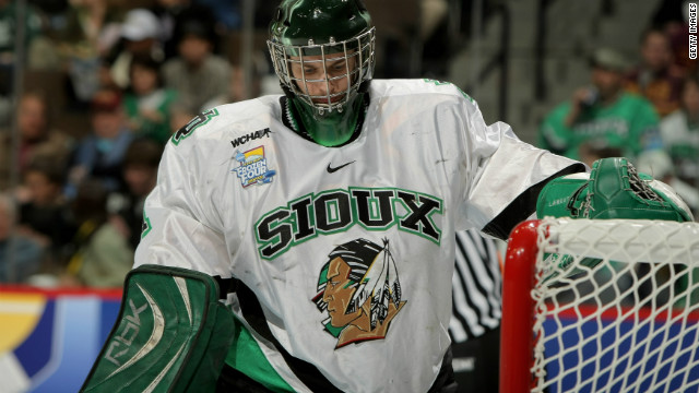 Jean-Philippe Lamoureux of the University of North Dakota Fighting Sioux tends goal during a game in Denver in 2008.