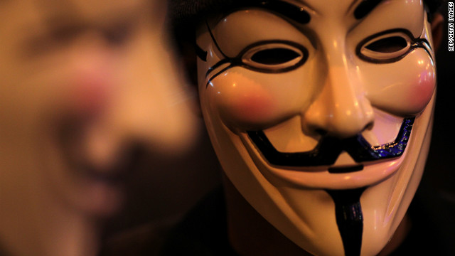 Those associated with the hacker collective Anonymous sometimes wear a Guy Fawkes mask.