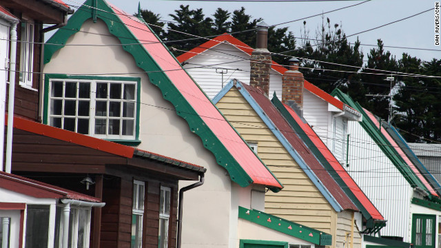 Colourful houses made from corrugated iron give the Stanley, the capital of the islands, a Scandinavian feel. 