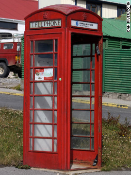 A red telephone box in Stanley is just one of a number of quintessentially British aspects to island life - the Argentines insist the islands were &quot;stolen&quot; from them by Britain in 1833.