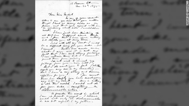 In this 1875 letter to his future wife, Mabel, inventor Alexander Graham Bell gave a straightforward account of his feelings, stating, &quot;You cannot know how deeply you have made your way into my heart. There is nothing in all the world I would not do for your sake -- excepting a dishonourable action.&quot;