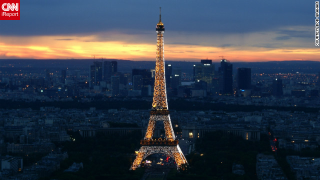 Bob Graham captured this stunning view of the Eiffel Tower at sunset from the top of Montparnasse. 