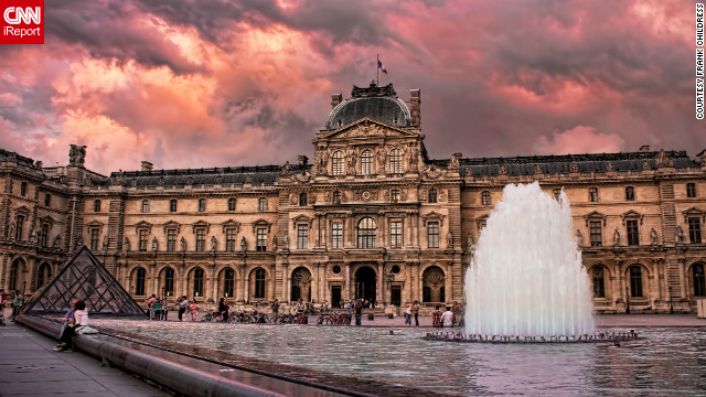 "As Valentine's Day approaches, we explore all of Paris' glittering allure. ""During a visit to Paris for work, I took this image from the Louvre courtyard at sunset just before a storm moved in from the east,"" iReporter Frank Childress said."