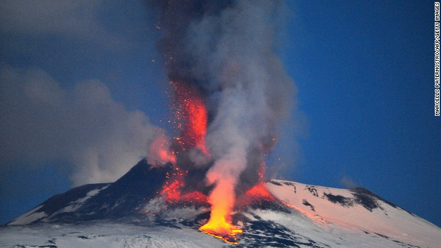 Europe's highest active volcano, Mount Etna, spews lava in January 2012. The volcano is located i