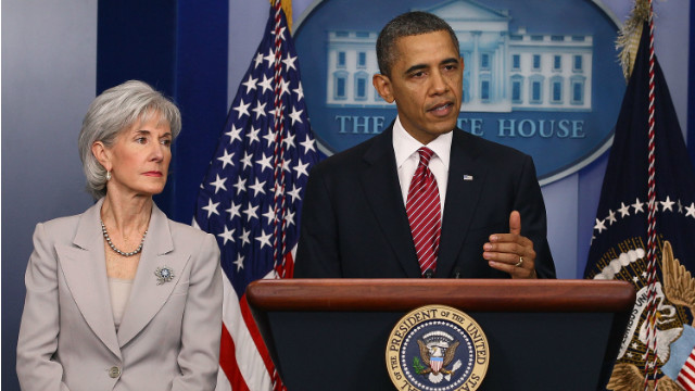 President Obama and HHS Secretary Kathleen Sebelius announce an