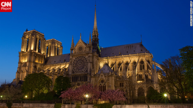 "David Culp shared this serene view of Notre Dame at night. ""I came upon this scene just as the lights began to illuminate the most famous cathedral in Paris."""