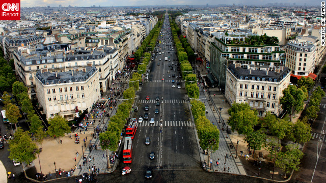 "Ania Taylor captured this view of the Champs-Élysées from the top of the Arc de Triomphe. ""The whole city has this amazingly romantic feel to it."""