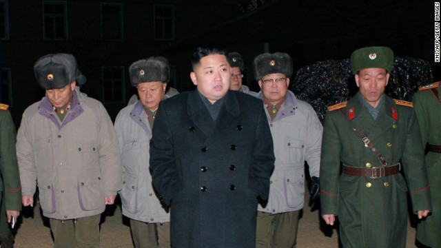 A photo released by North Korea's official news agency on Thursday shows North Korean leader Kim Jong Un, center.