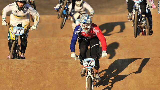 As well as tackling huge jumps, BMX racers also have to contend with bumps in the track known as a &quot;whoop.&quot;