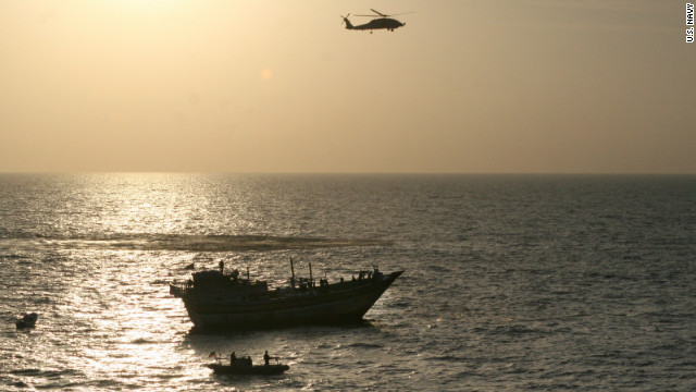 The USS Kidd responds to a distressed Iranian fishing dhow on January 6.