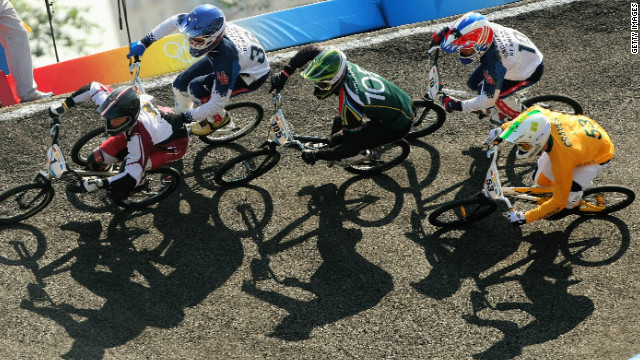 The track also features steep banked corners, known as berms. This picture was taken during the men's final at the 2008 Beijing Games, where Latvia's Maris Strombergs took gold.