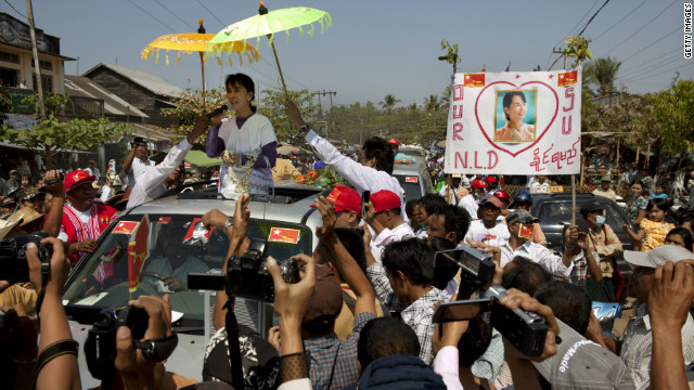Myanmar opposition leader Aung San Suu Kyi on the campaign trail ahead of the April 1 by-elections.