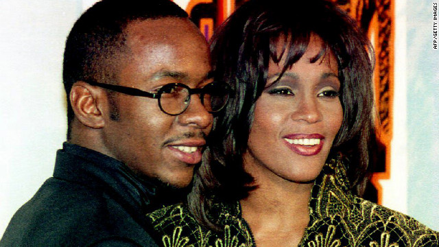 Houston appears with her husband at the time, Bobby Brown, at the Soul Train Music Awards in March 1995. Houston received the Sammy Davis Jr. Award for entertainer of the year.