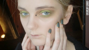 Nail artist Fleury Rose creates a mossy, gold rimmed design for Katie Gallagher\'s Fashion Week show.