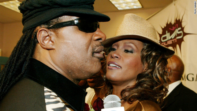 Stevie Wonder and Whitney Houston meet backstage during &quot;The VH1 Divas Duets&quot; concert to benefit the VH1 Save the Music Foundation in Las Vegas in May 2005.
