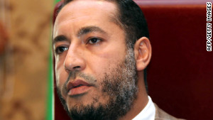Saadi Kadhafi speaks during a news conference in Tripoli, Libya, in January 2010.