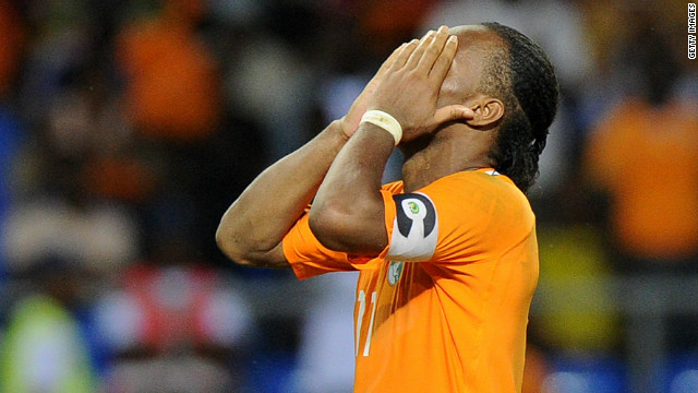 Now playing for Chinese club Shanghai Shenhua, Drogba could have put the Ivory Coast ahead midway through the final's second half, but fired his penalty high over the crossbar. The striker also missed a spot-kick in the Elephants' 2006 shootout defeat to Egypt. This is likely to be Drogba's last Cup of Nations and, as such, this represents the final chance for the Ivorian golden generation to at last win something. 