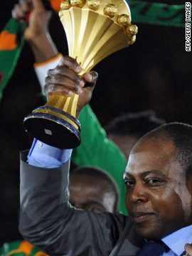 <br/>Former Zambia player Kalusha Bwalya holds the Africa Cup of Nations aloft after the Copper Bullets beat Ivory Coast in Sunday's final. Coach Herve Renard dedicated Zambia's historic first title to Bwalya, who is also head of the country's soccer federation.