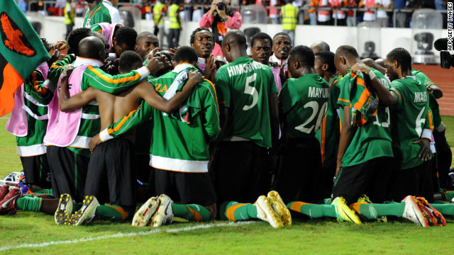 Zambia's players celebrate together after they beat the Ivory Coast 8-7 on penalties at the end of a dramatic Africa Cup of Nations final.