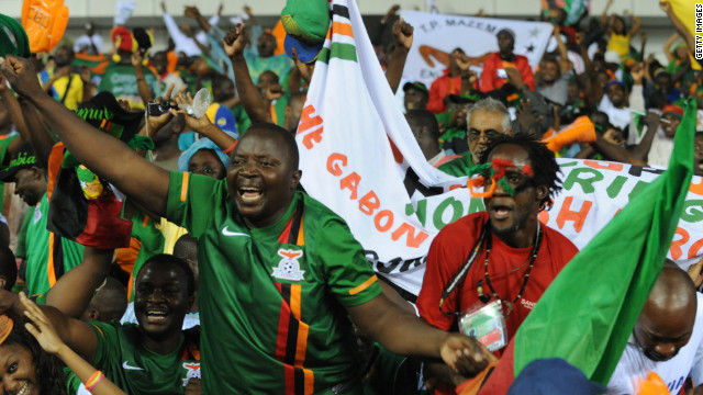 Zambia fans at the Stade d'Angondje celebrated wildly after their team's first win of the African Cup of Nations on February 12.