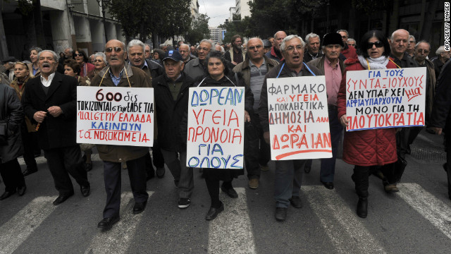 Greek pensioners in Athens show their anger at the severe cuts.