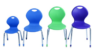 These chairs from Academia Furniture Industries show the range of sizes from 12 to 19 inches.